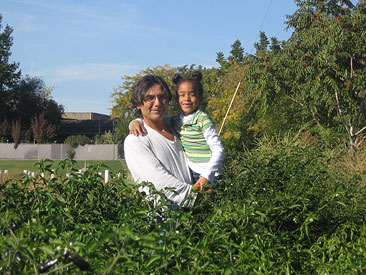 Rudy and best helper in pepper patch